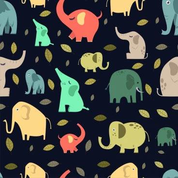 elephant background colorful flat icons