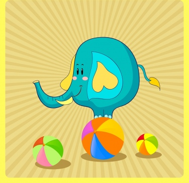 elephant background round balls rays backdrop cartoon design