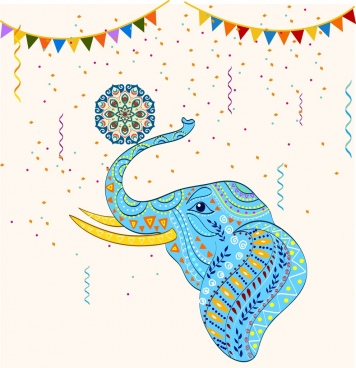 elephant background tribal decor colorful flat design