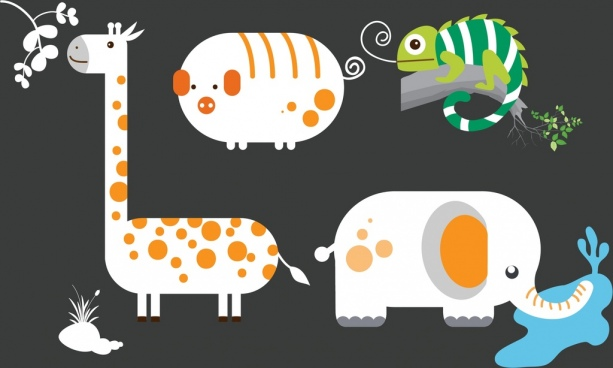elephant giraffe pig gecko icons flat colored design