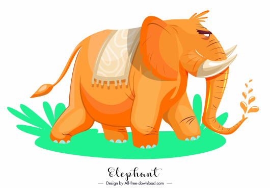 elephant icon cartoon sketch orange decor