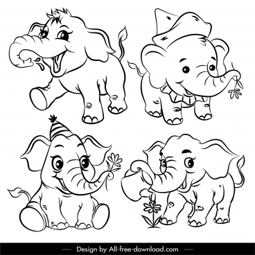elephant icons cute cartoon characters black white handdrawn