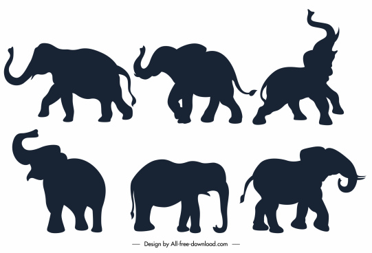 elephant icons flat black silhouette sketch