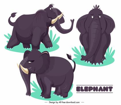 elephant icons funny cartoon sketch