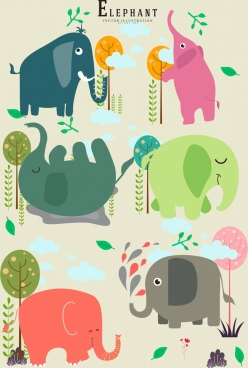 elephant icons multicolored flat design