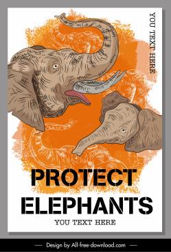 elephant protection banner retro handdrawn design