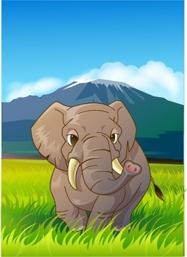 wildlife painting elephant icon colored cartoon design