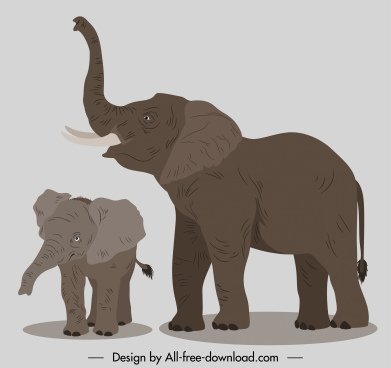 elephants painting classical handdrawn sketch