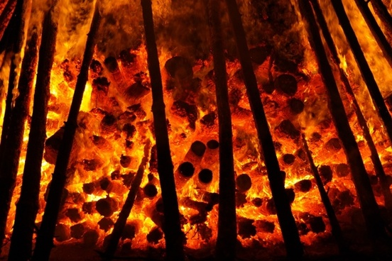 embers glow wood