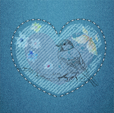 embroidery bird and heart pattern on jean background