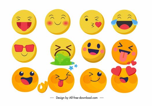 emoji faces icons colorful dynamic circles design