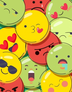 emoticon background colorful emotional circles decor