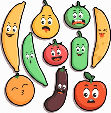 emoticon background cute stylized fruit icons