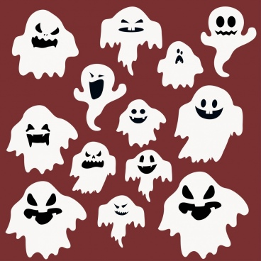 emoticon background funny ghost face icons