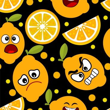 emoticon background orange fruit icons stylized design