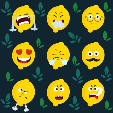 emoticon background yellow lemon icons stylized design