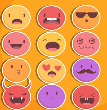 emoticon collection colorful flat circles design