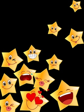 emoticon collection cute yellow star icons