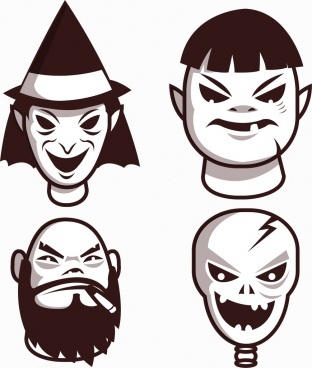 emoticon collection frightening faces design