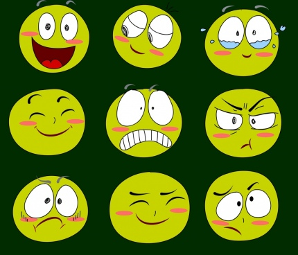 emoticon collection funny facials green circles