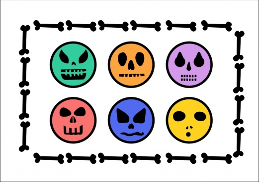 emoticon collection horror colored skulls flat design