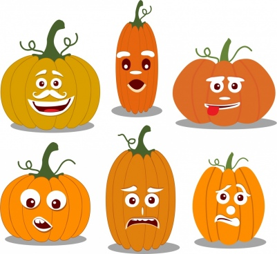 emoticon collection pumpkin icons decor