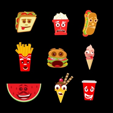 emoticon collection stylized fast food icons
