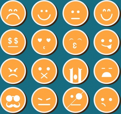 emoticon design elements collection orange circles isolation