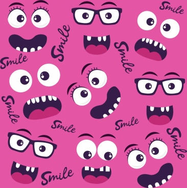 emotion faces background funny design various emoticon