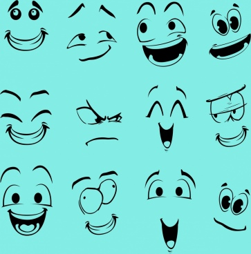 emotion faces collection funny emoticon design