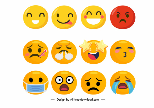 emotion icons cute expression sketch colored facial circles