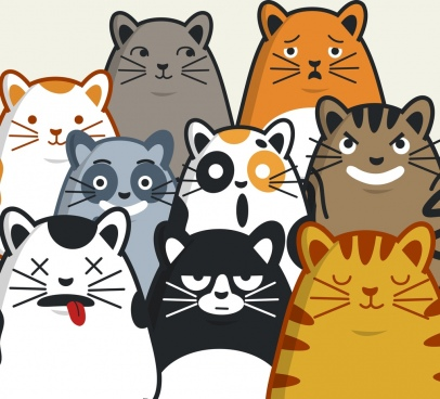 emotional background funny cat icons decor