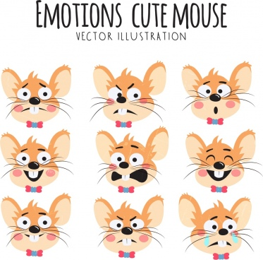 emotional face icons cute mouses design
