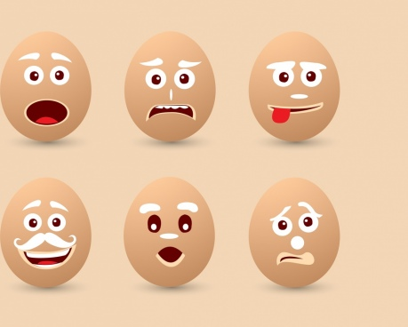 emotional faces collection brown egg icons decoration