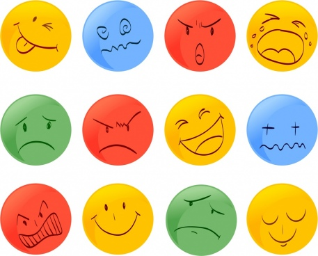 emotional faces icons collection colored round design