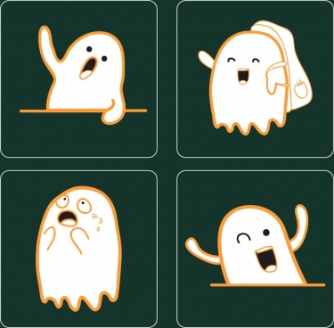 emotional icons collection cute white ghost decoration