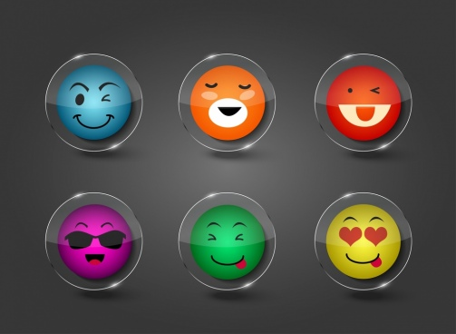 emotional icons collection funny style colorful transparent circles