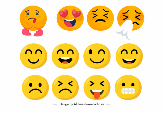 emotional icons cute circle faces sketch