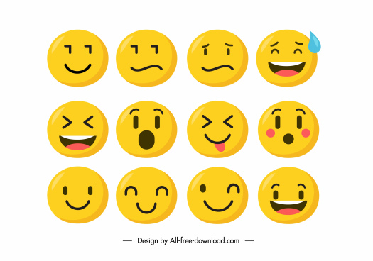 emotional icons cute yellow circle faces sketch