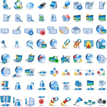 technology icons collection modern colored symbols sketch