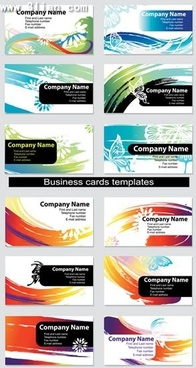 name card templates colorful abstract grunge dynamic design