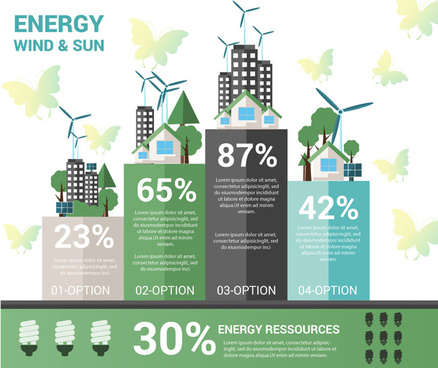 energy saving idea infographic chart illustration with windmill