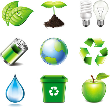 energy saving with eco icons vector