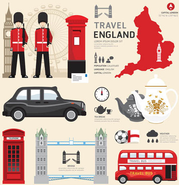 england tourism elements vector
