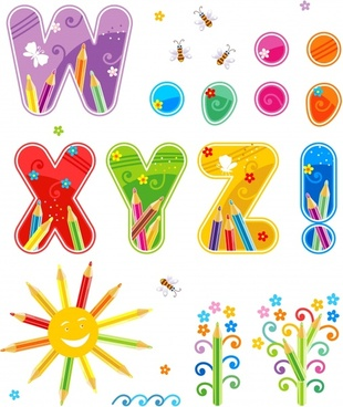 english alphabet vector colorful