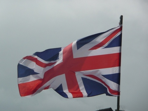 english flag in the wind