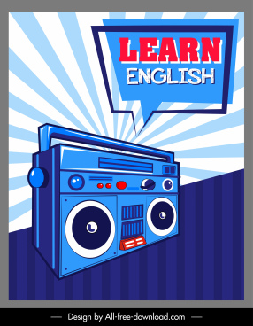 english learning banner retro radio speech bubble sketch