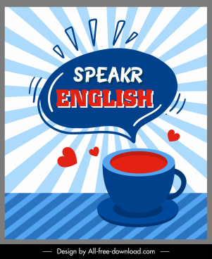 english speaking banner coffee cup speech bubble sketch