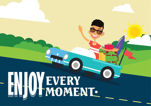 enjoy moment vector illustration with guy and car