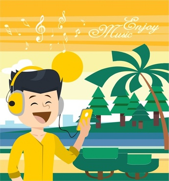 enjoy music concept design with boy and device